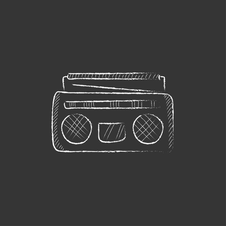 Radio cassette player. Hand drawn in chalk vector isolated icon for web, mobile and infographics.