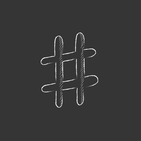 microblogging: Hashtag symbol. Hand drawn in chalk vector isolated icon for web, mobile and infographics.