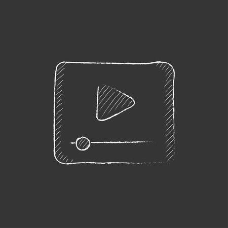 Video player. Hand drawn in chalk vector isolated icon for web, mobile and infographics. Illustration