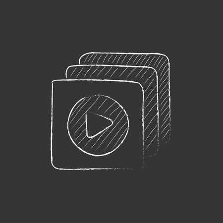 press button: Media player. Hand drawn in chalk vector isolated icon for web, mobile and infographics.