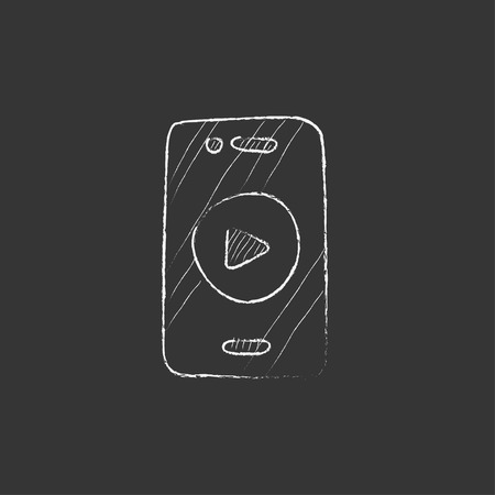 Smartphone with play button on a screen. Hand drawn in chalk vector isolated icon for web, mobile and infographics. Illustration