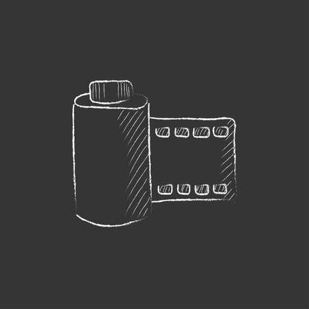 Camera roll. Hand drawn in chalk vector isolated icon for web, mobile and infographics. 矢量图像