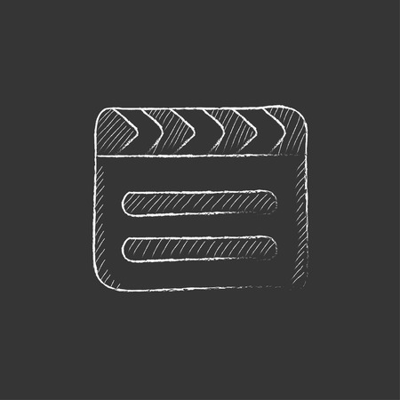cinematograph: Clapboard. Hand drawn in chalk vector isolated icon for web, mobile and infographics. Illustration