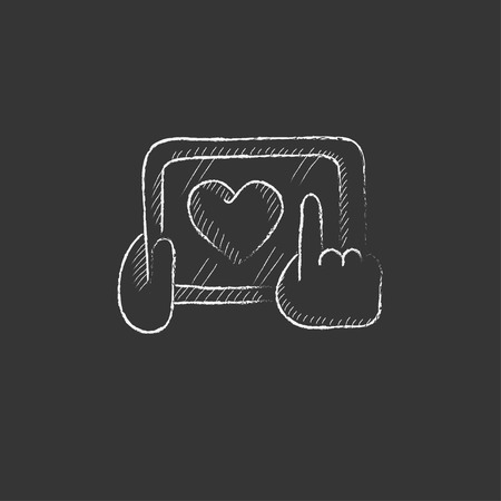 Smartphone with heart sign. Hand drawn in chalk vector isolated icon for web, mobile and infographics.