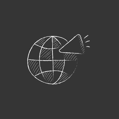 Globe with loudspeaker. Hand drawn in chalk vector isolated icon for web, mobile and infographics. Illustration