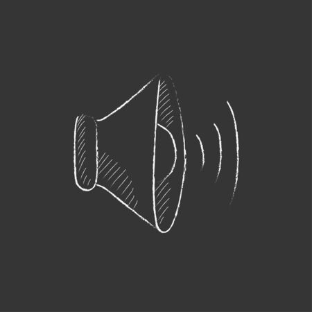 Speaker volume. Hand drawn in chalk vector isolated icon for web, mobile and infographics. Illustration