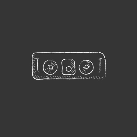 remix: DJ console. Hand drawn in chalk vector isolated icon for web, mobile and infographics. Illustration