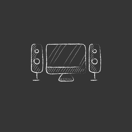 home cinema: Home cinema system. Hand drawn in chalk vector isolated icon for web, mobile and infographics. Illustration