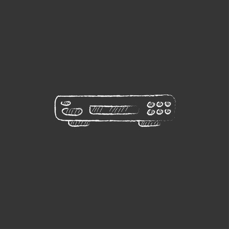 Video recorder. Hand drawn in chalk vector isolated icon for web, mobile and infographics.