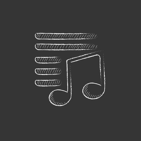 melodies: Musical note. Hand drawn in chalk vector isolated icon for web, mobile and infographics.