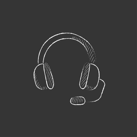 tech support: Headphone with microphone. Hand drawn in chalk vector isolated icon for web, mobile and infographics.