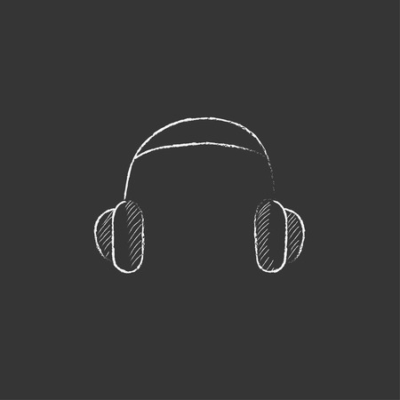 device: Headphone. Hand drawn in chalk vector isolated icon for web, mobile and infographics.