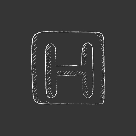 indicate: Hospital sign. Hand drawn in chalk vector isolated icon for web, mobile and infographics.