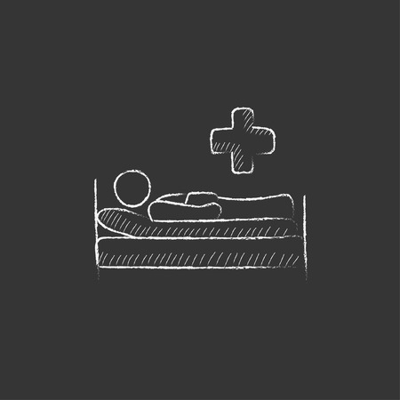 lying on bed: Patient lying on the bed. Hand drawn in chalk vector isolated icon for web, mobile and infographics. Illustration