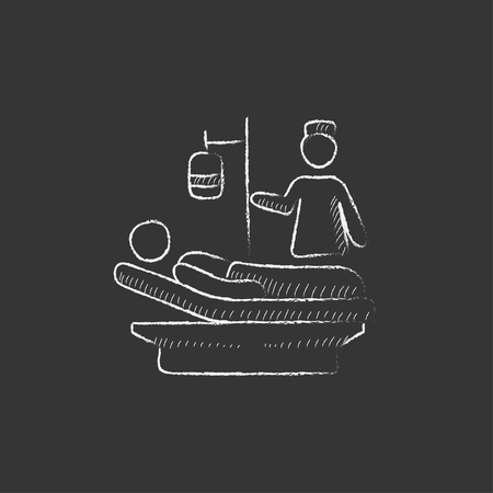 recovering: Nurse attending a patient lying on the bed. Hand drawn in chalk vector isolated icon for web, mobile and infographics.