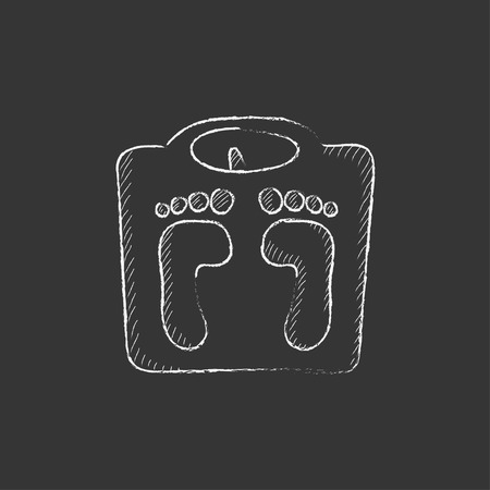 Weighing scale. Hand drawn in chalk vector isolated icon for web, mobile and infographics. Ilustração