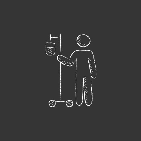 intravenous: Patient standing with intravenous dropper. Hand drawn in chalk vector isolated icon for web, mobile and infographics.
