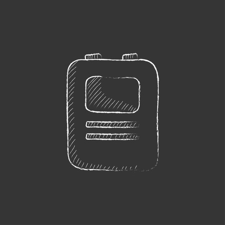 defibrillator: Heart defibrillator. Hand drawn in chalk vector isolated icon for web, mobile and infographics.