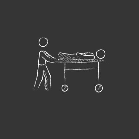 man pushing: Man pushing stretchers with patient. Hand drawn in chalk vector isolated icon for web, mobile and infographics. Illustration