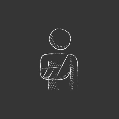 broken arm: A man standing with broken arm in bandages. Hand drawn in chalk vector isolated icon for web, mobile and infographics.