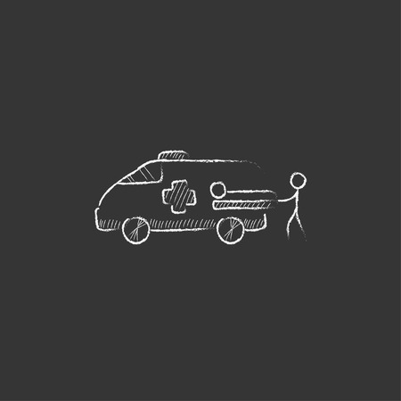 Man pushing stretchers with patient in ambulance car. Hand drawn in chalk vector isolated icon for web, mobile and infographics. Vectores