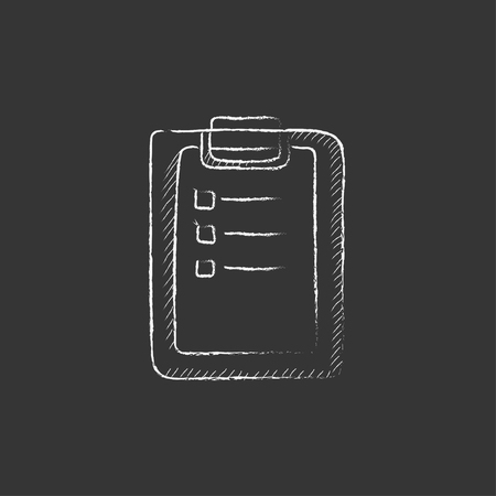 report icon: Medical report. Hand drawn in chalk vector isolated icon for web, mobile and infographics. Illustration