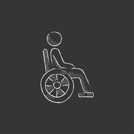 Disabled person sitting in the wheelchair. Hand drawn in chalk vector isolated icon for web, mobile and infographics.