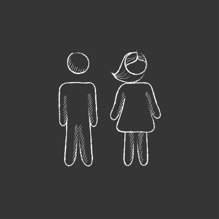 Couple. Hand drawn in chalk vector isolated icon for web, mobile and infographics.
