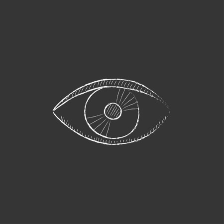 Eye. Hand drawn in chalk vector isolated icon for web, mobile and infographics.