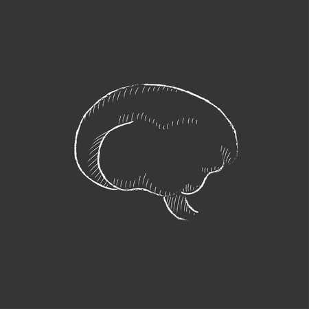 neuronal: Brain. Hand drawn in chalk vector isolated icon for web, mobile and infographics.