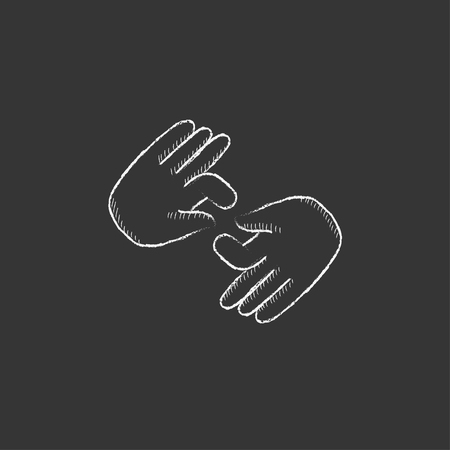 pantomime: Finger language. Hand drawn in chalk vector isolated icon for web, mobile and infographics.