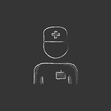 medico: Nurse. Hand drawn in chalk vector isolated icon for web, mobile and infographics. Illustration