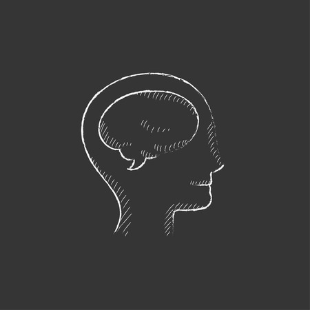 neuronal: Human head with brain. Hand drawn in chalk vector isolated icon for web, mobile and infographics. Illustration