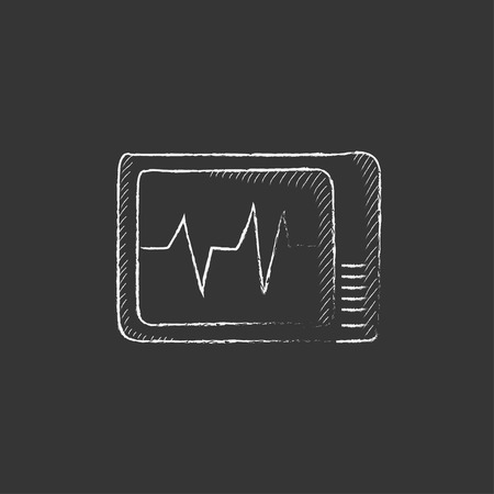 heart monitor: Heart monitor. Hand drawn in chalk vector isolated icon for web, mobile and infographics.