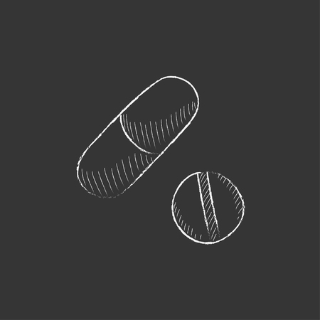 pills hand: Pills. Hand drawn in chalk vector isolated icon for web, mobile and infographics.