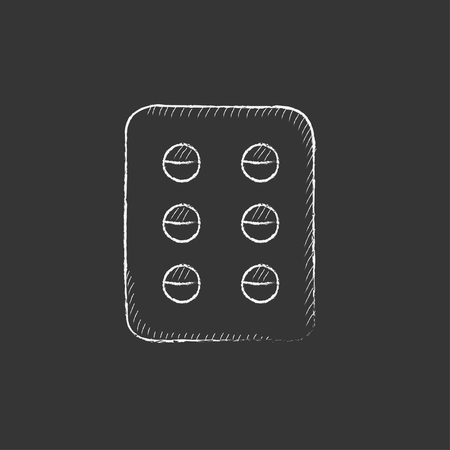 pills hand: Plate of pills. Hand drawn in chalk vector isolated icon for web, mobile and infographics.