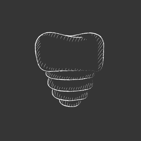 cleanliness: Tooth implant. Hand drawn in chalk vector isolated icon for web, mobile and infographics.