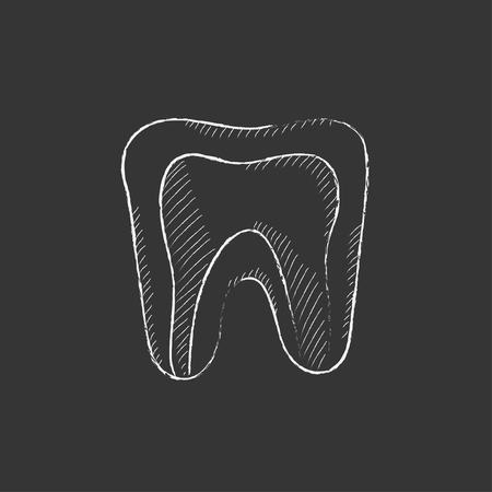 mouth pain: Molar tooth. Hand drawn in chalk vector isolated icon for web, mobile and infographics.