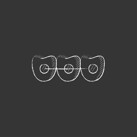 orthodontic: Orthodontic braces. Hand drawn in chalk vector isolated icon for web, mobile and infographics.