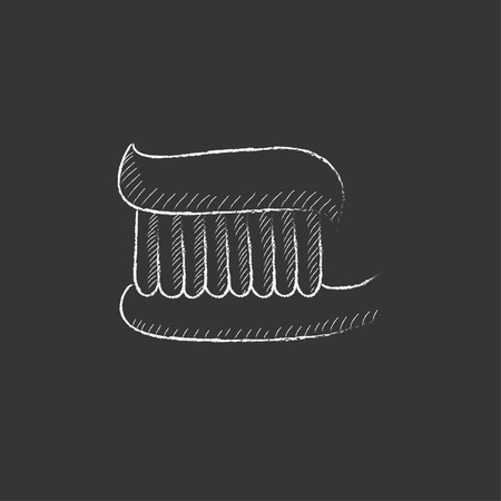 toiletries: Toothbrush with toothpaste. Hand drawn in chalk vector isolated icon for web, mobile and infographics.