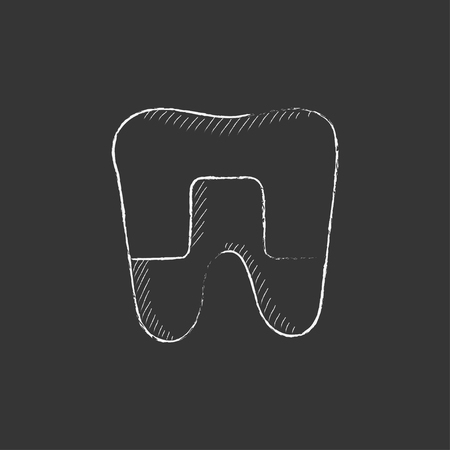 crowned: Crowned tooth. Hand drawn in chalk vector isolated icon for web, mobile and infographics.