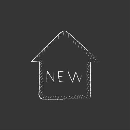 New house. Hand drawn in chalk vector isolated icon for web, mobile and infographics.
