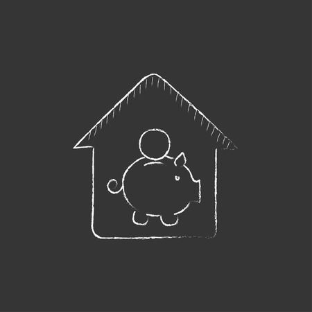 House savings. Hand drawn in chalk vector isolated icon for web, mobile and infographics.