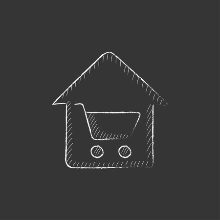house shopping: House shopping. Hand drawn in chalk vector isolated icon for web, mobile and infographics. Illustration
