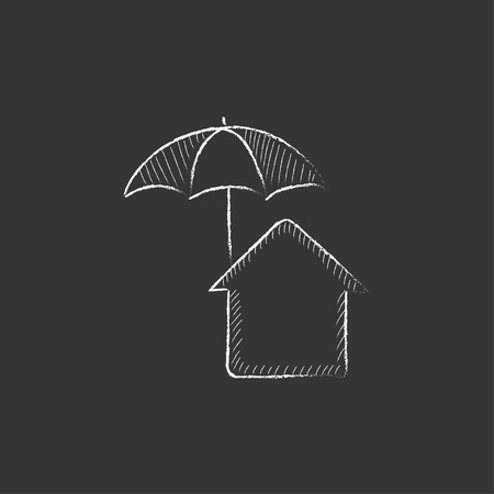 belay: House under umbrella. Hand drawn in chalk vector isolated icon for web, mobile and infographics.