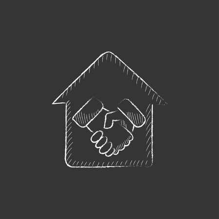 Handshake and successful real estate transaction. Hand drawn in chalk vector isolated icon for web, mobile and infographics. Stock Illustratie
