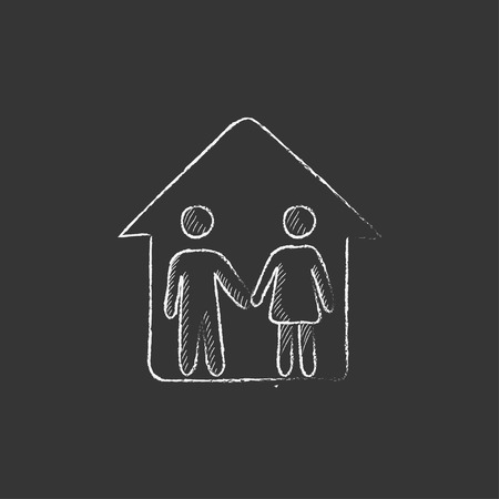 family isolated: Family house. Hand drawn in chalk vector isolated icon for web, mobile and infographics.