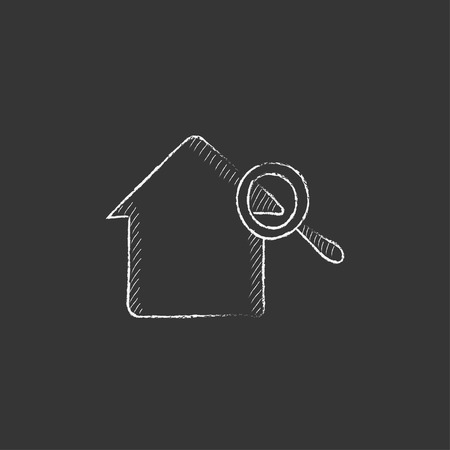 House and magnifying glass. Hand drawn in chalk vector isolated icon for web, mobile and infographics. Stock Illustratie