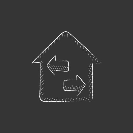 resale: Property resale. Hand drawn in chalk vector isolated icon for web, mobile and infographics.