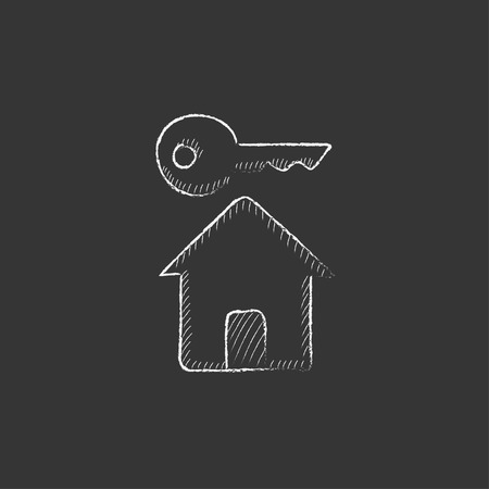 private access: Key for house. Hand drawn in chalk vector isolated icon for web, mobile and infographics.